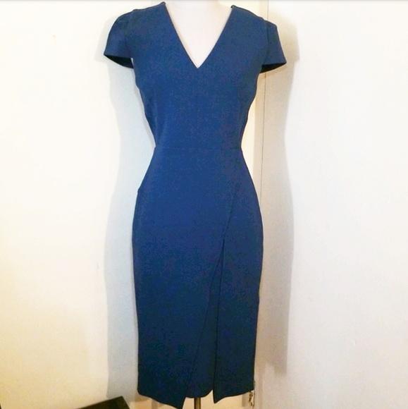 Roland Mouret Dresses & Skirts - Roland Mouret Teal V Neck Midi Dress
